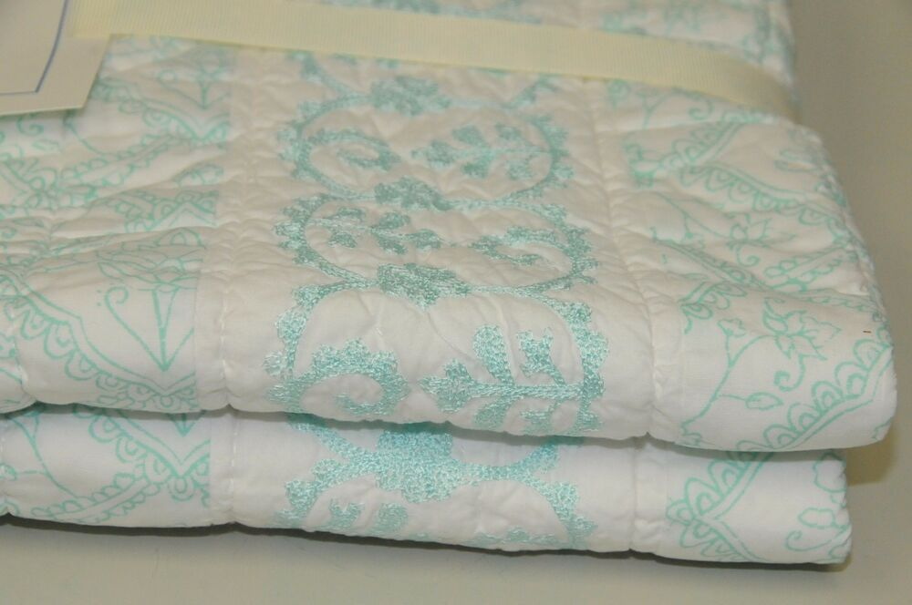 NEW Pottery Barn Kids Embroidered Aqua Quilt ISABELLE