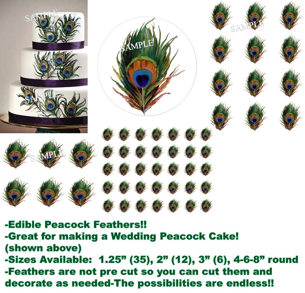 Individual Peacock Feather Print Edible Cake Topper Image