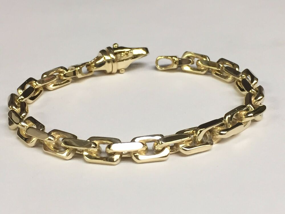 14k solid yellow gold handmade link men 39 s chain bracelet 9. Black Bedroom Furniture Sets. Home Design Ideas