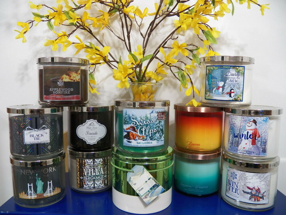 bath and body works 3 wick candle 14 5 oz fall winter scents u pick 1 ebay. Black Bedroom Furniture Sets. Home Design Ideas