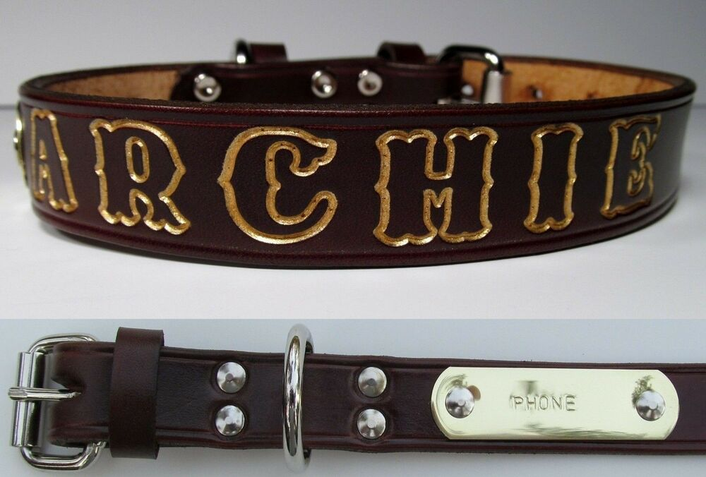 Brown Leather Small Dog Collar Personalized Pet Name Brass