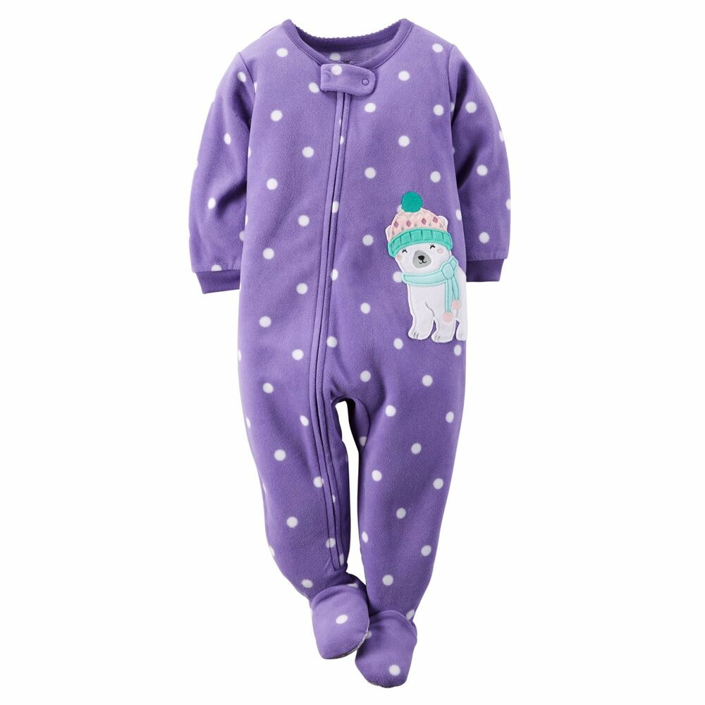 4dff33df74 Details about Carter s Girls  Fleece One Piece Footed Blanket Pajamas 5  Youth