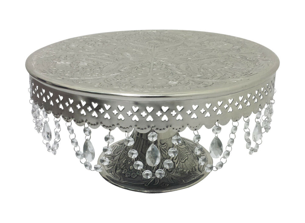 wedding cake stand with hanging crystals giftbay wedding cake stand pedestal silver 16 quot with 25684