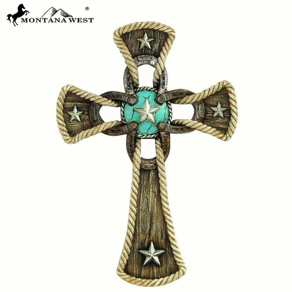 Montana west horseshoe lonestar 11 wall cross western for Cross decorations for home