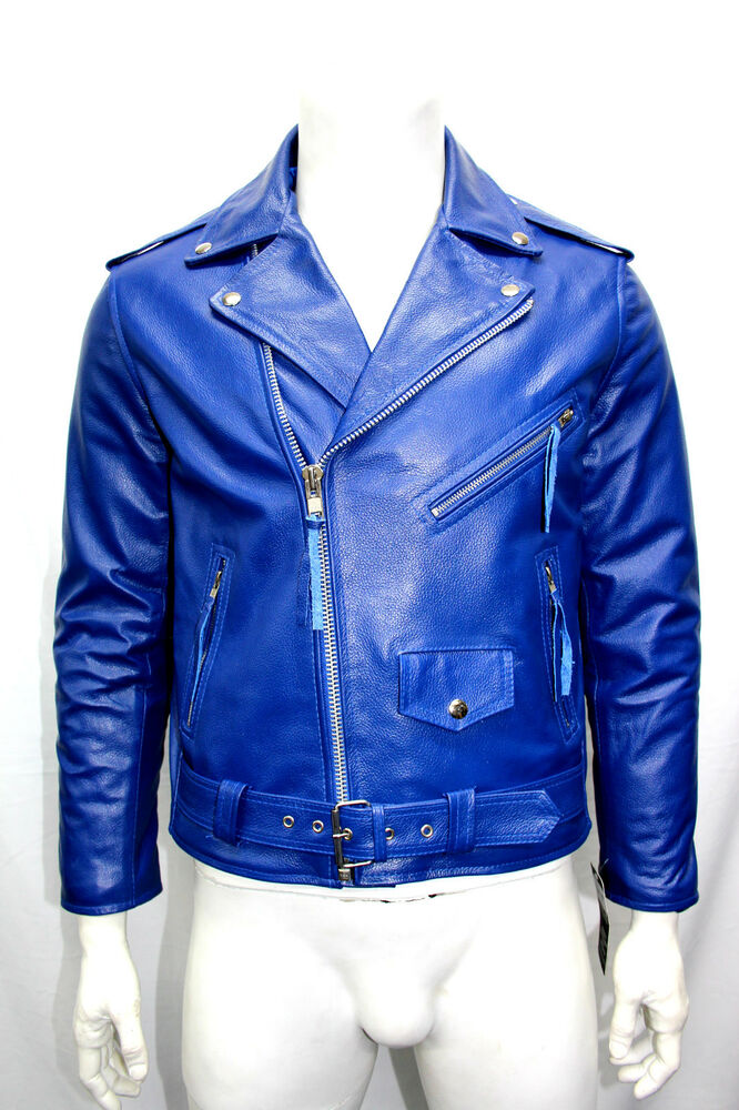 MBF MENS FASHION CLASSIC BIKER SPORT MOTORCYCLE ROYAL BLUE LEATHER ...