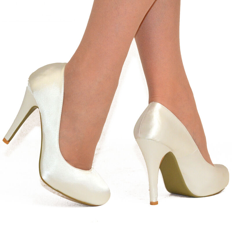 Ivory Satin Platform Wedding Shoes
