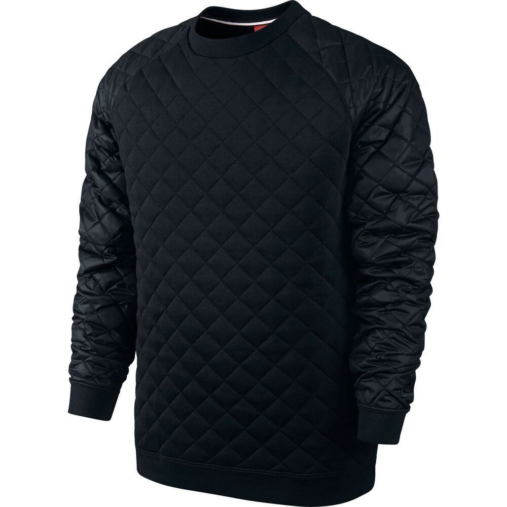 Nike men 39 s winterized crew neck sweat shirt black pullover for How to not sweat through shirts