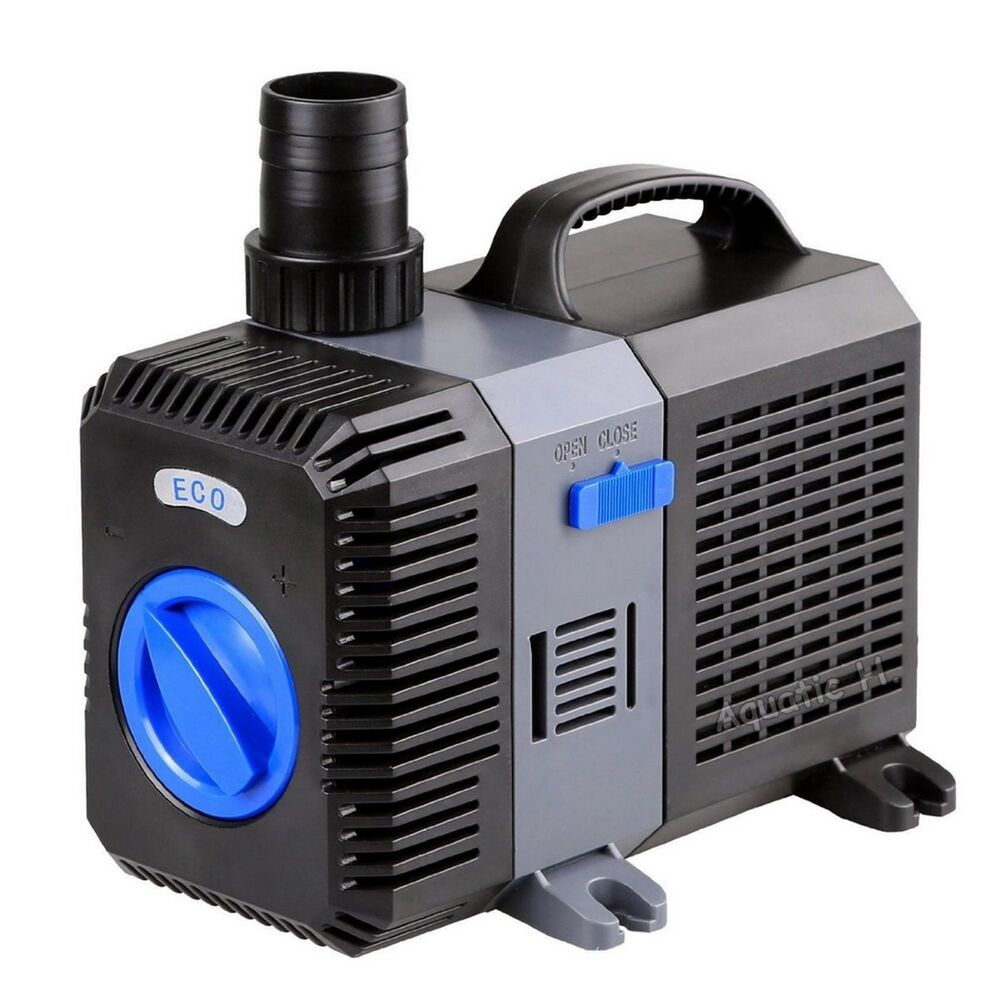 2100 gph adjustable submersible inline pond pump fountain for Pond waterfall pump