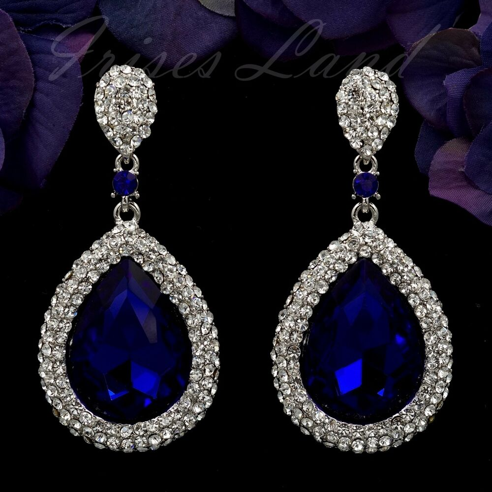 Rhodium Plated Sapphire Blue Crystal Rhinestone Drop ...