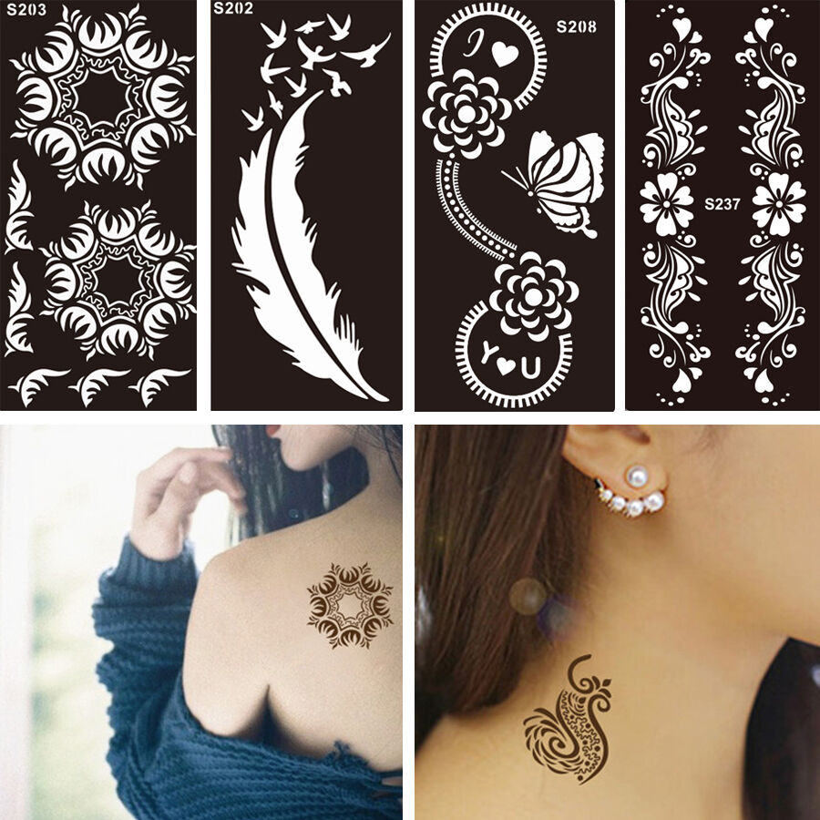 How To Make Money To Travel Temping: 1 Sheet Black Flower Style Henna Stencil Body Art