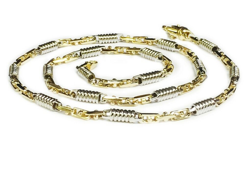 14k Two Tone Gold Mens Handmade Chain Necklace 18 Quot 5 Mm 35 Grams Ebay