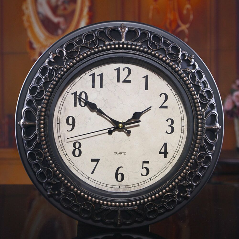 Wall clock living room bedroom decor antique retro style for Living room wall clocks