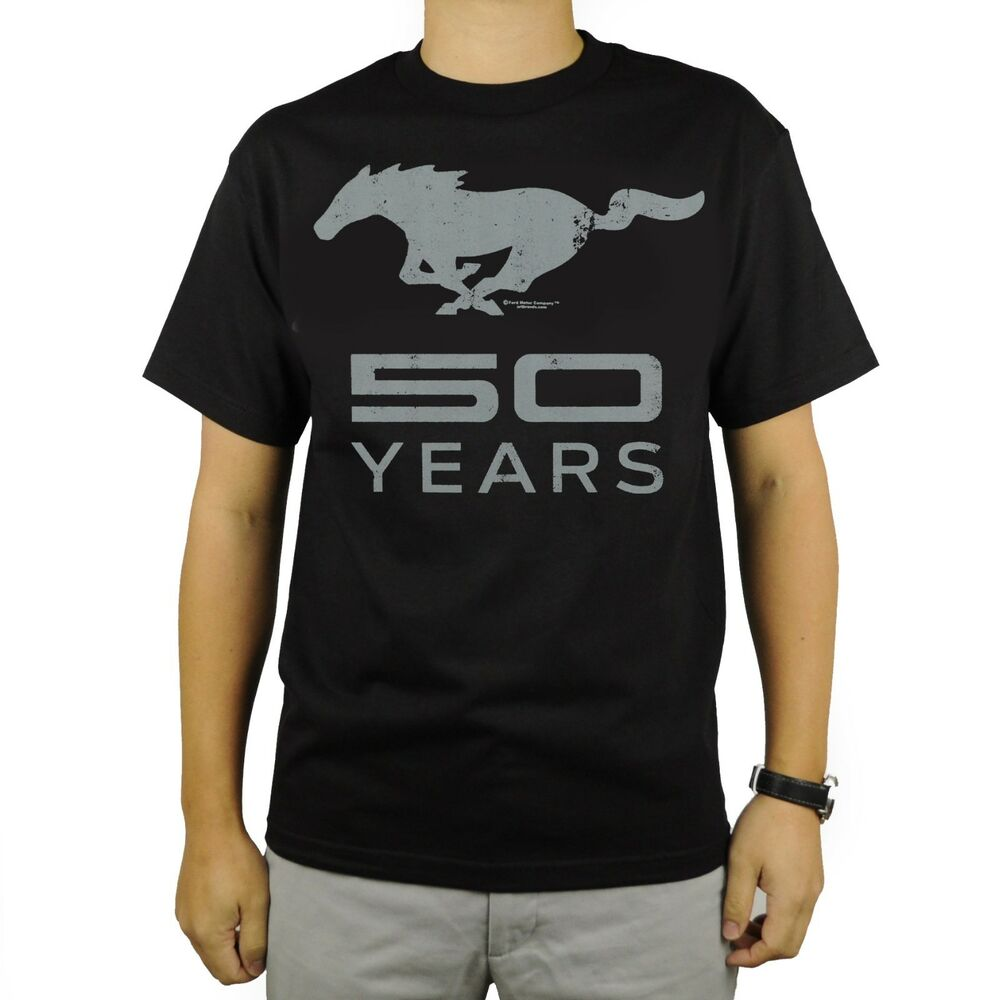 Ford Mustang 50 Years Anniversary T Shirt Black Car Auto