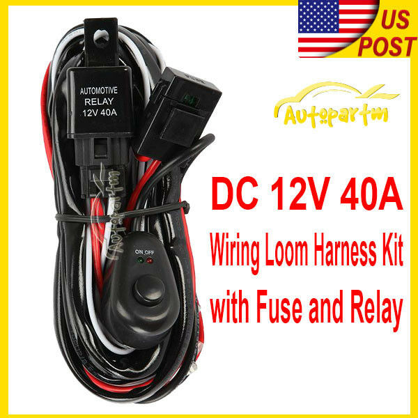 universal led fog light driving l wiring harness fuse switch relay wiring kit ebay