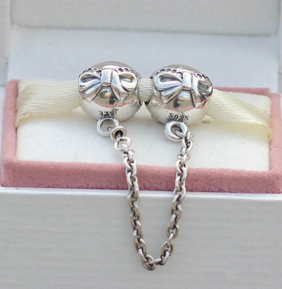 new authentic pandora charm dainty bow safety chain