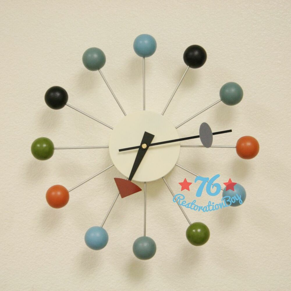 George nelson style atomic multi color ball wall clock ebay for Nelson wall clock