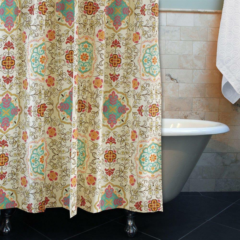 Beige Aqua Orange Exotic Bohemian Medallion Fabric Shower Curtain Bathroom Bath Ebay