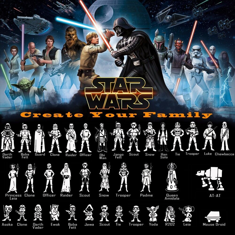 StarWars Characters Vinyl Decal Sticker Create Your Star