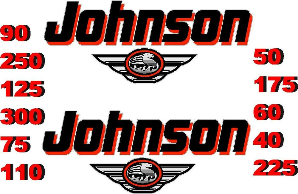 2 Johnson Boat Motor Decal Sticker Decals Outboard New Ebay