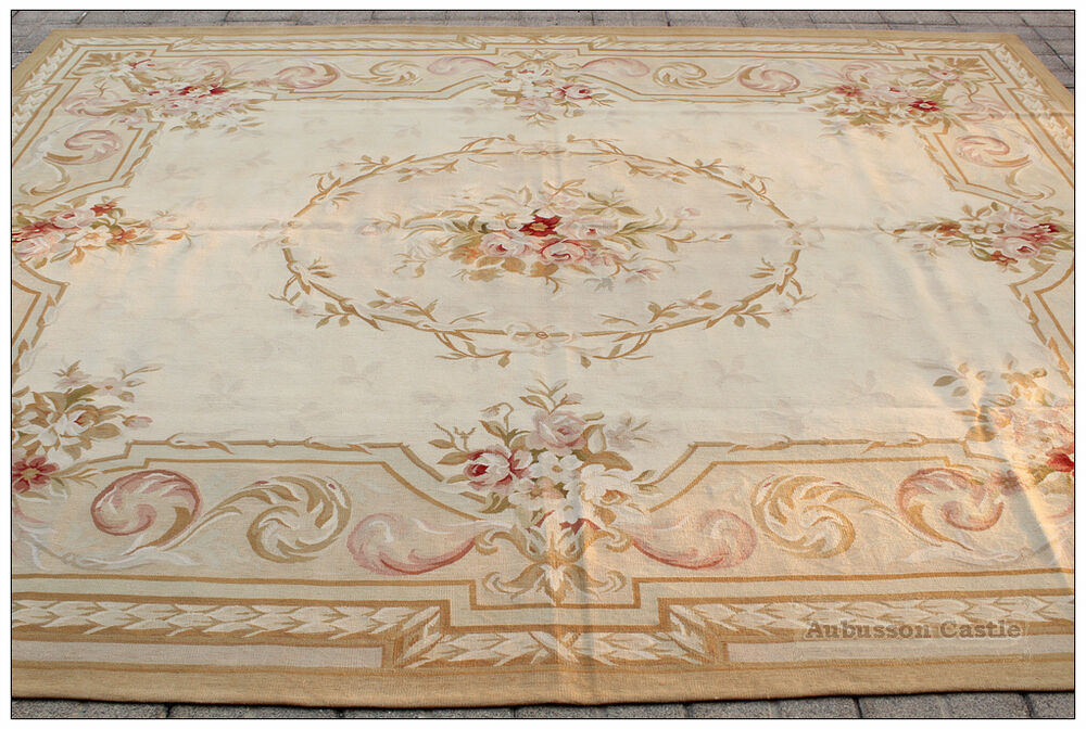 9x12 Country French Pastel Aubusson Area Rug Vintage Decor