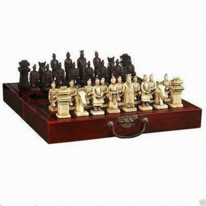 Chinese Dragon Wood Leather Box With 32 Chess Set Ebay