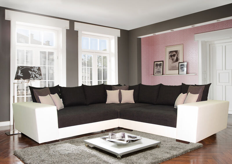 big ecksofa sofa wohnlandschaft big xxl mega couch sitzecke federkern spitzecke ebay. Black Bedroom Furniture Sets. Home Design Ideas