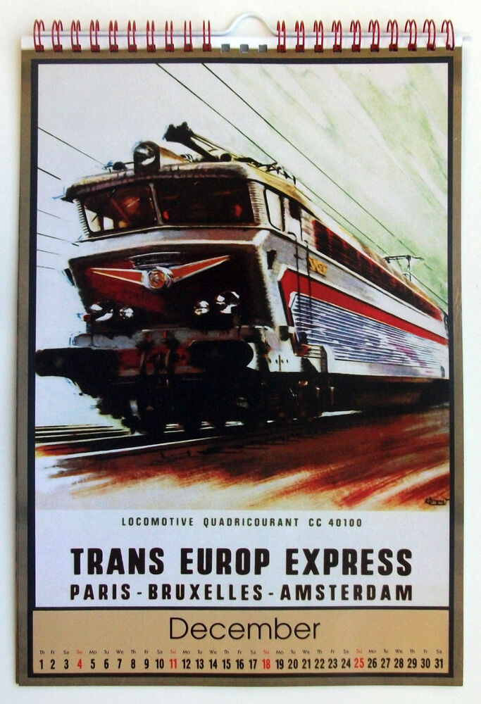 Calendar Vintage Travel Posters : Wall calendar pages a steam train loco vintage