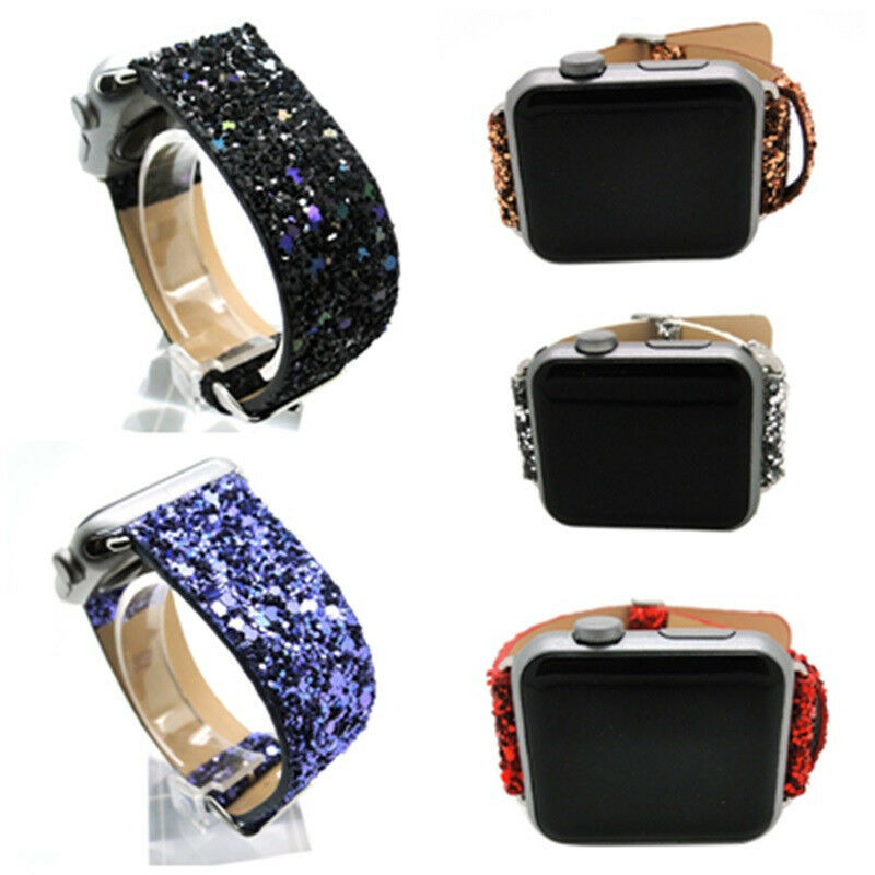 Bling Luxury Glitter Leather Strap+Adapter For Apple Watch