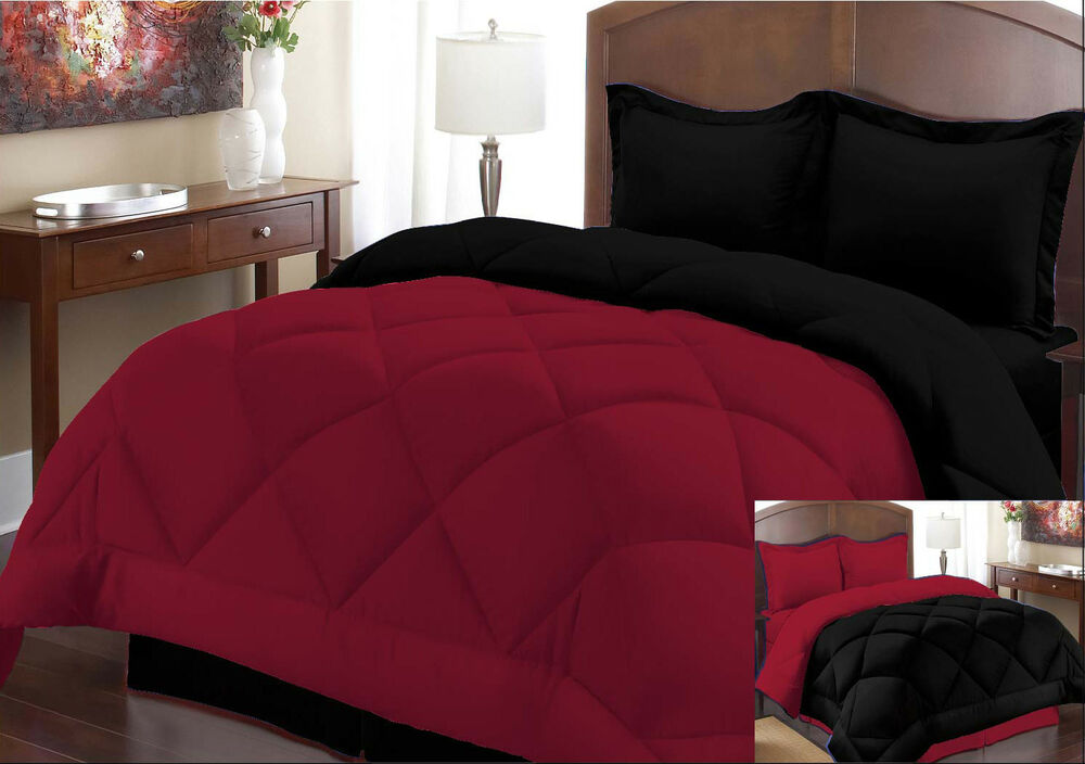 comforter set full queen size burgundy black 3 piece reversible bed in a bag new ebay. Black Bedroom Furniture Sets. Home Design Ideas