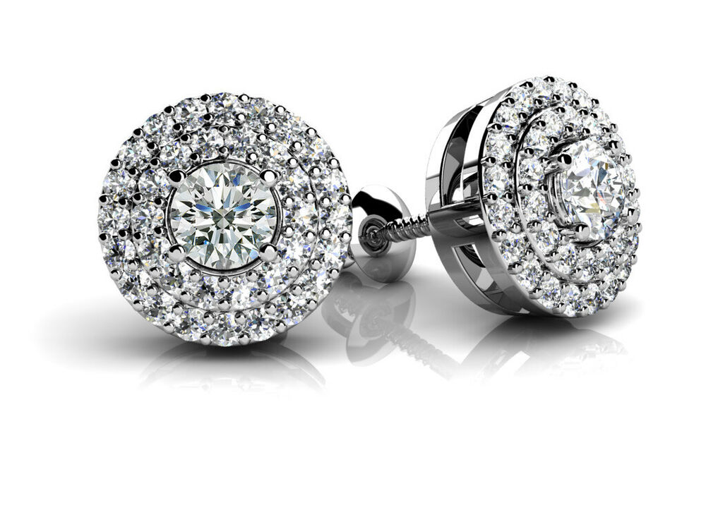 Solid 10k White Gold 0.87 ct D VVS1 Round Cut Halo Studs ...