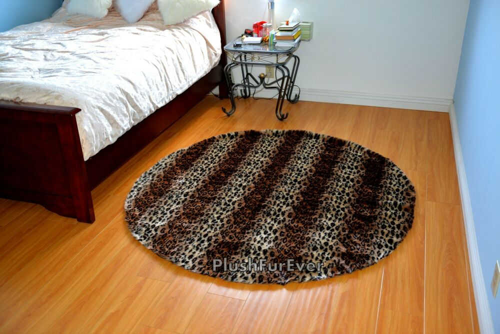 5 Round Faux Fur Brown Leopard Stripes Nursery Rug Baby
