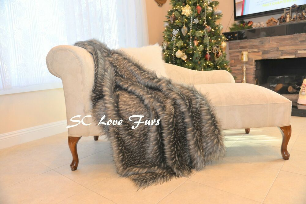 Gray Coyote 60 Quot 72 Quot 84 Quot Plush Thick Warmth Fur Throw Sofa