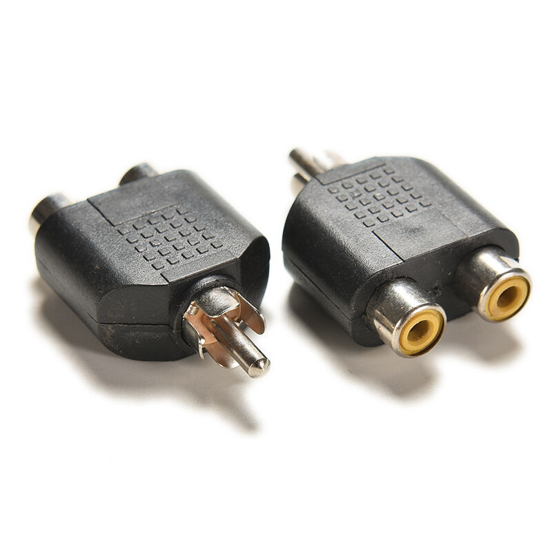 2x rca y splitter audio video plug converter 1 male to 2 female cable adapter c3 ebay. Black Bedroom Furniture Sets. Home Design Ideas
