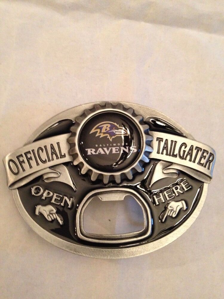 baltimore ravens new tailgater belt buckle with bottle opener nfl football ebay. Black Bedroom Furniture Sets. Home Design Ideas