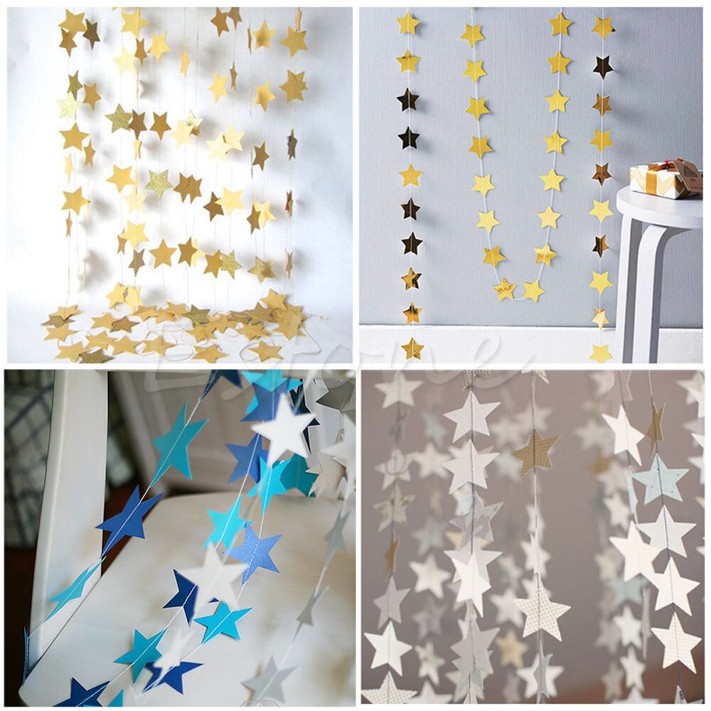 Paper garland strings star shape wedding party bridal home for Decoration paper
