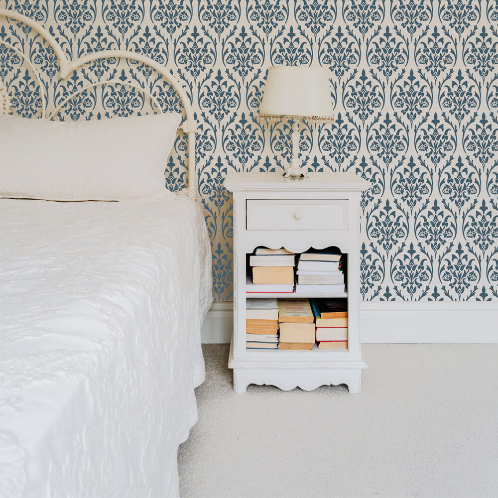 Bernice Damask Wall Allover Stencil For Diy Wall Home