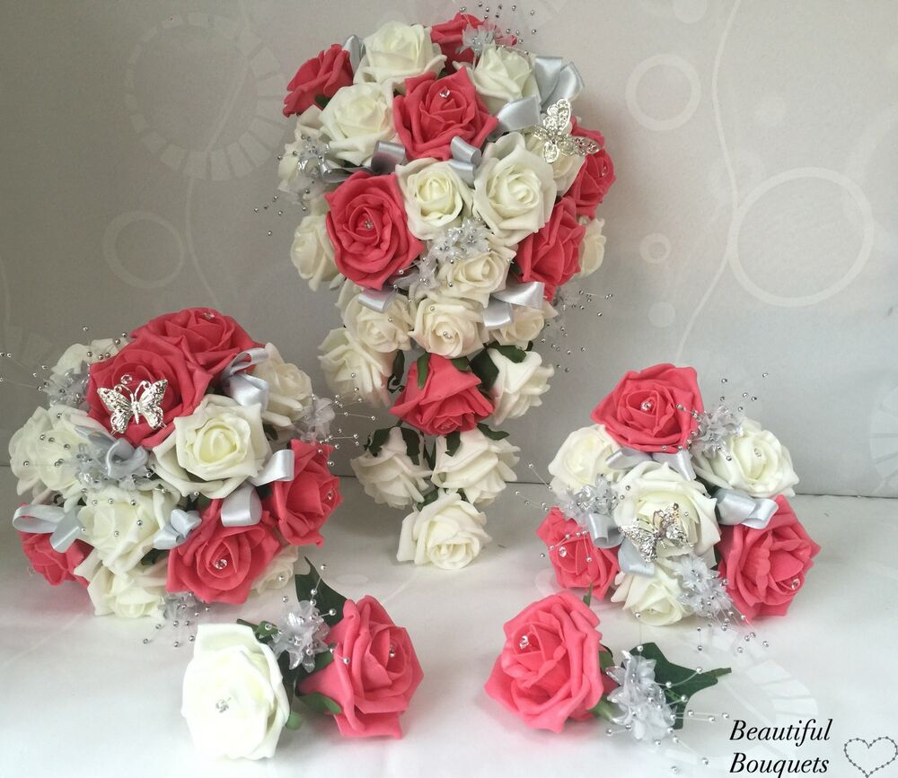 wedding flowers ivory rose coral bouquet bride bridesmaid butterfly girl wand ebay. Black Bedroom Furniture Sets. Home Design Ideas