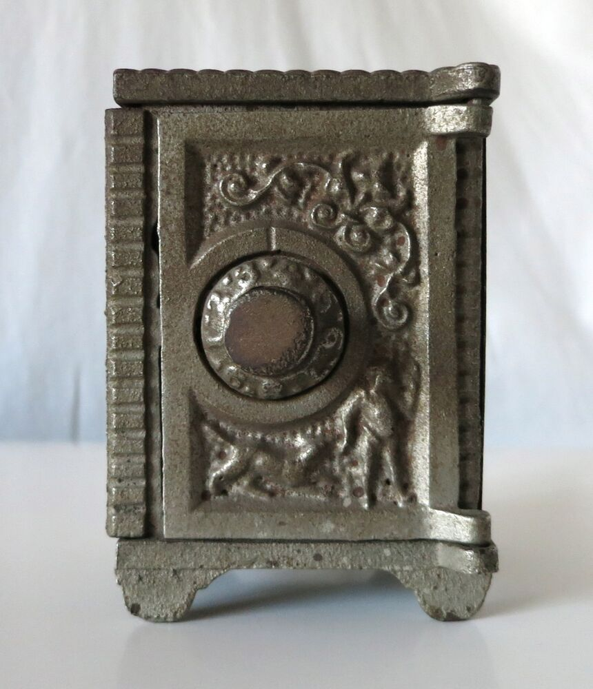 Boy with dog and angel vintage cast iron combination safe