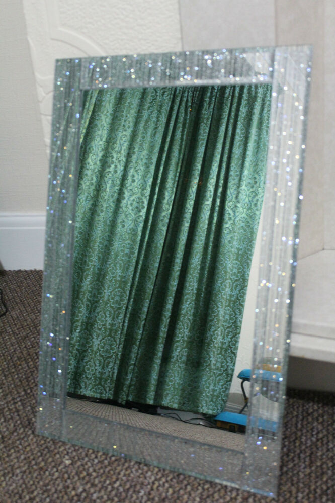 Large silver glitter frame wall mirror silver sparkle for Large silver wall mirror
