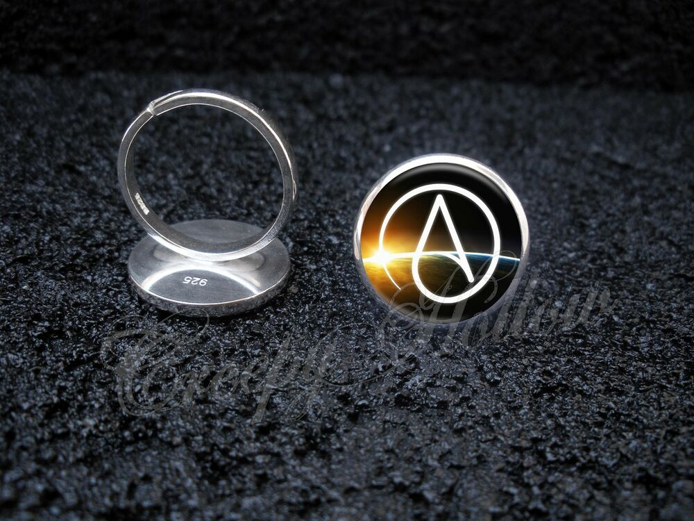 925 Sterling Silver Adjustable Ring Atheist Symbol Atheism Agnostic