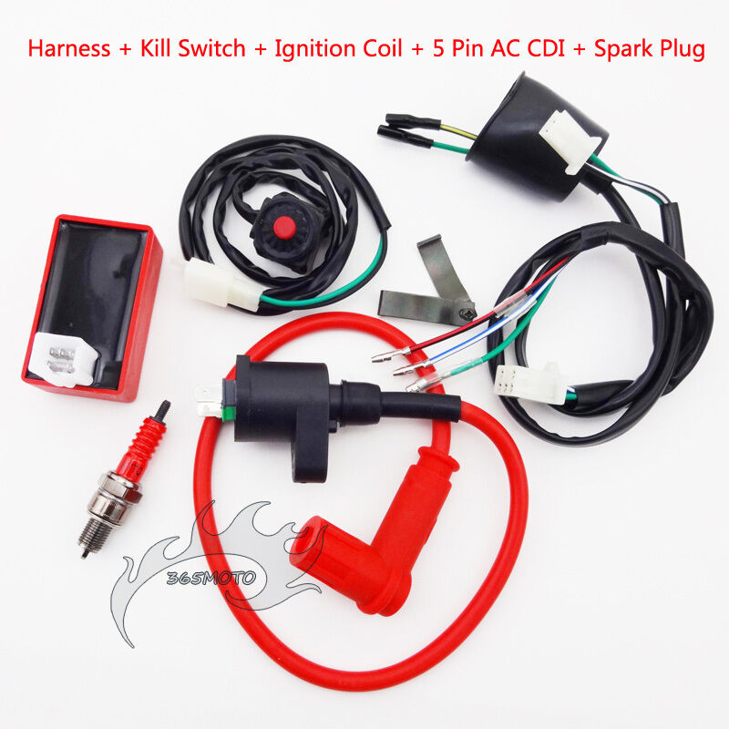 kill switch wiring loom harness ignition coil cdi spark for pit dirt bike ebay
