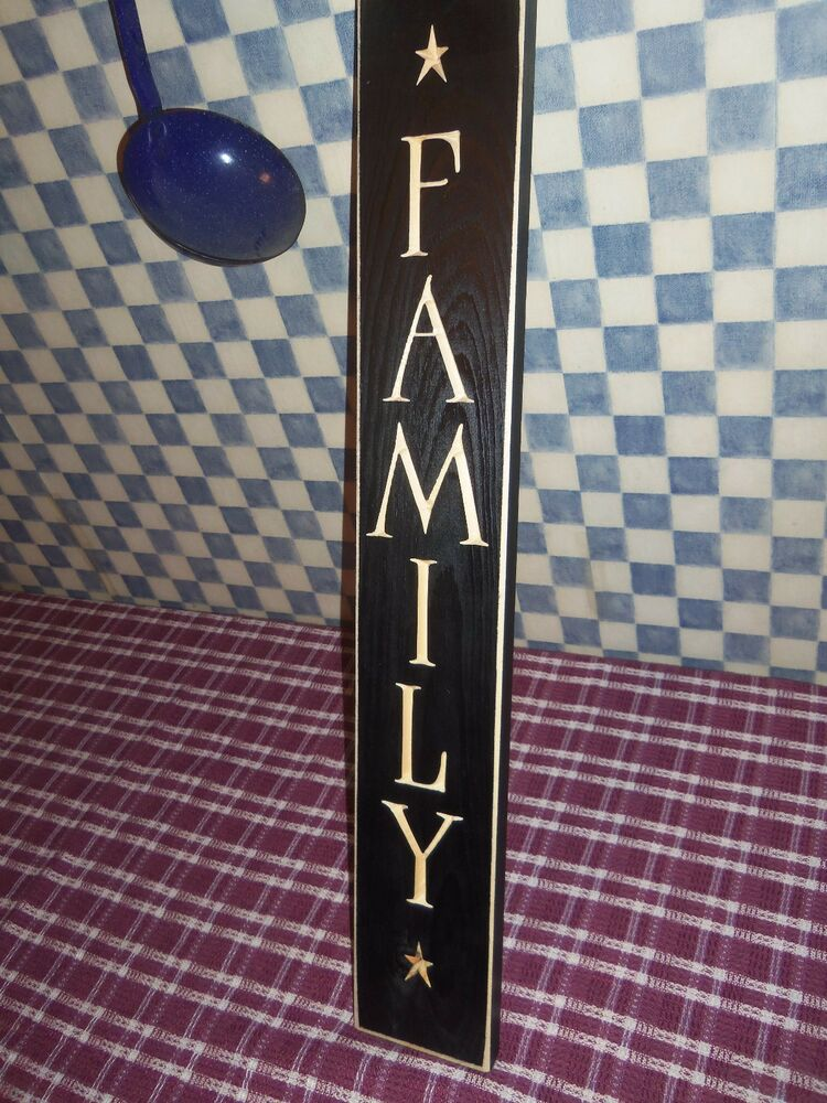24 black primitive wood sign family rustic country home for Home decor usa