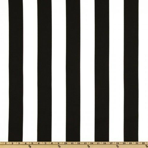 Black And White 2 Deck Stripe Outdoor Fabric Fabric By