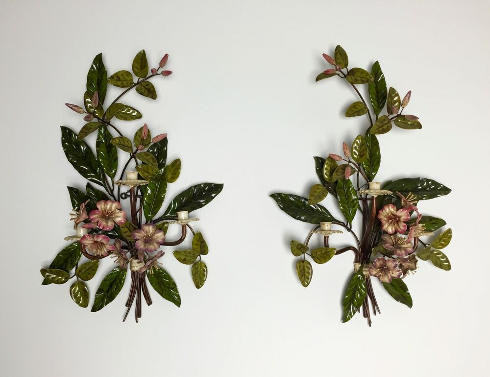 """EXQUISITE Pair of ITALIAN 26"""" METAL TOLE FLORAL WALL ... on Wall Sconces That Hold Flowers id=60472"""
