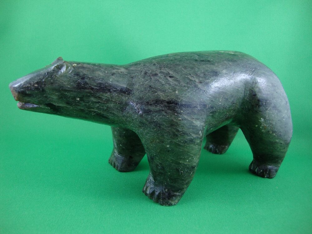 Walking bear quot long soap stone carving nicley done ebay
