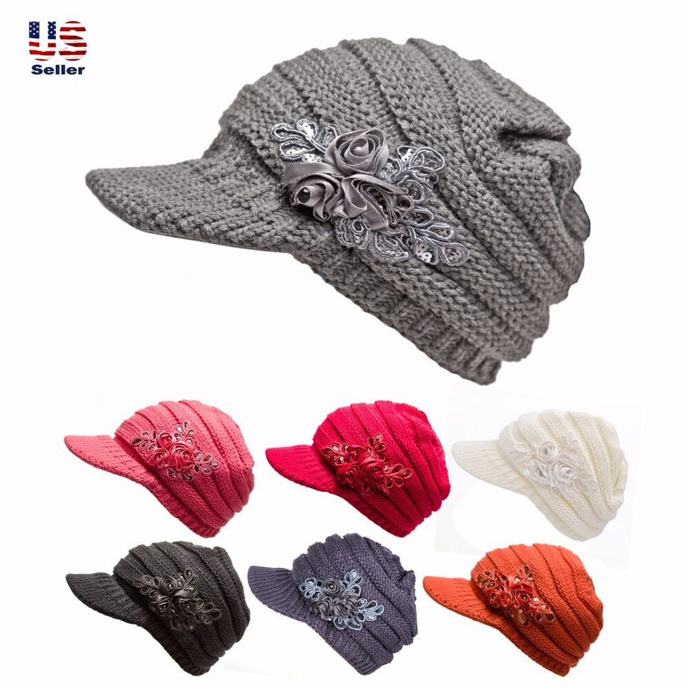 Knitting Hat For Women : Womens cable knit hat with flower accent cute visor beanie