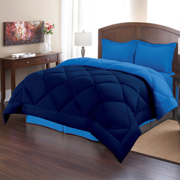 comforter set queen size blue navy bed in a bag bedding bedroom reversible 3 pcs ebay. Black Bedroom Furniture Sets. Home Design Ideas