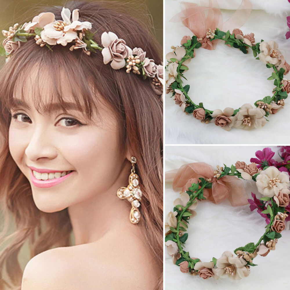 boho style flower floral women hairband headband crown party bride wedding beach ebay. Black Bedroom Furniture Sets. Home Design Ideas
