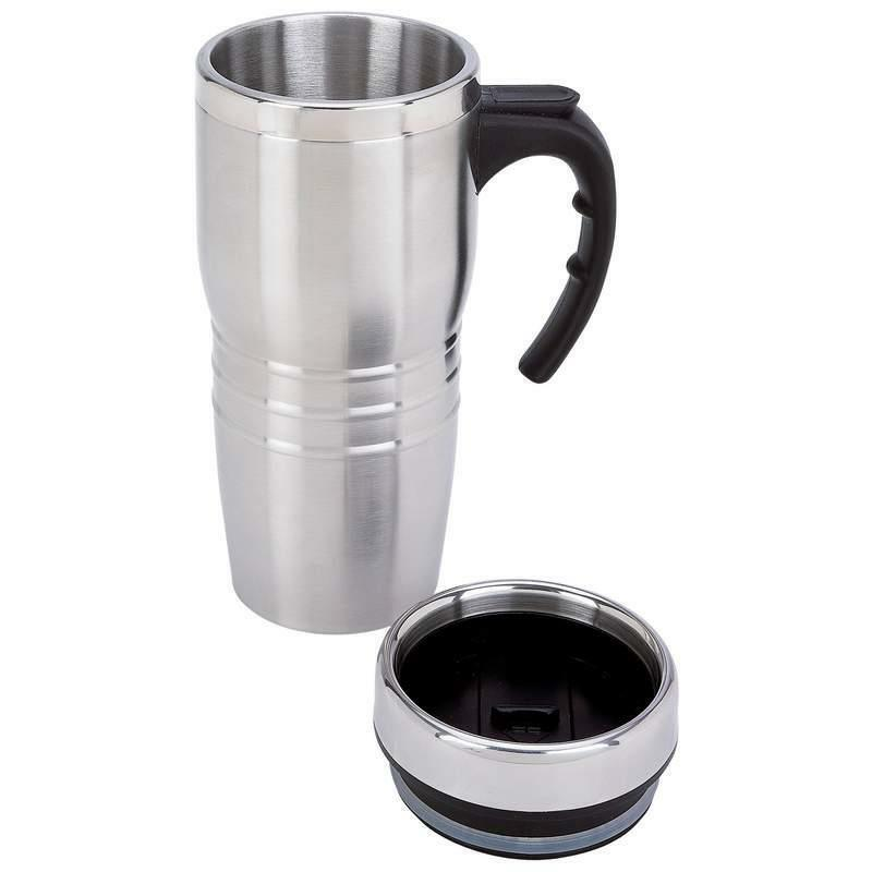 16 ounce stainless steel insulated travel coffee tea tumbler mug thermos ebay. Black Bedroom Furniture Sets. Home Design Ideas