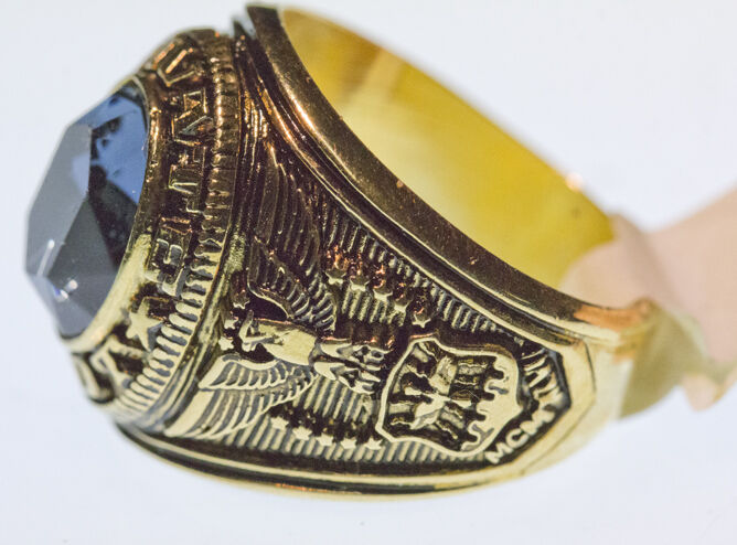 Pilot Ring Gold Plated Blue Stone Gold Finish Ebay